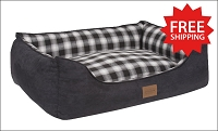 Charcoal Ombre Plaid Kuddler Bed