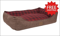 Red Ombre Plaid Kuddler Bed