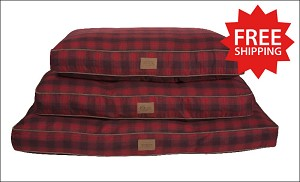 Red Ombre Plaid Pet Napper Bed